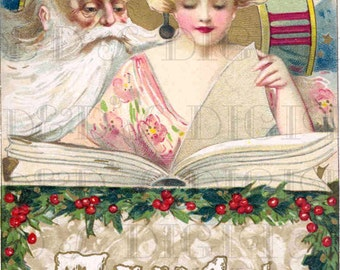 Stunning Father Time With New Year Book! Vintage Digital New Year Download Illustration Vintage Digital Near Year's Eve Download Art Nouveau