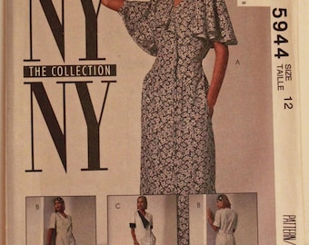 """Dress, Flutter Sleeves - 1990's - McCall's NY Collection Pattern 5944  Uncut  Size 12  Bust 34"""""""