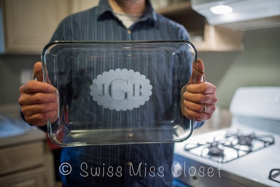 Personalized 9x13 Inch 3 Quart Glass Baking Dish Custom Etched