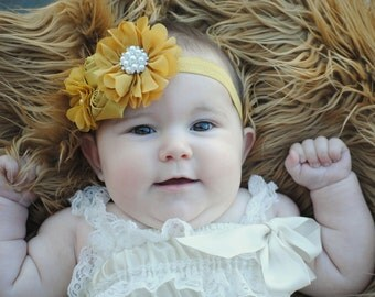 Mustard headband, Girl Headband, Baby girl Headband, newborn headband, satin rosette mustard ochre yellow