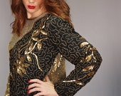 10 SALE Hollywood Glam: vintage 80's gold and black silk metallic sequin & beaded glamorous blouse top party size medium large