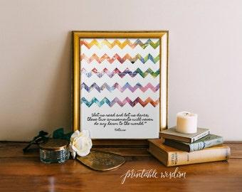 Quote Print, Printable wall art decor poster - inspirational reading dancing quotes, watercolor chevrons, digital Printable Wisdom