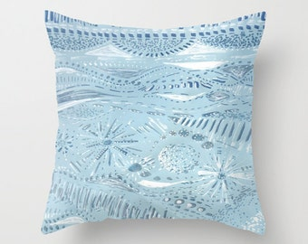 Light Blue Abstract Throw Pillow Cover, pastel pillow cover, blue pillow cover, blue pillow case, throw pillow cover, light blue pillow case