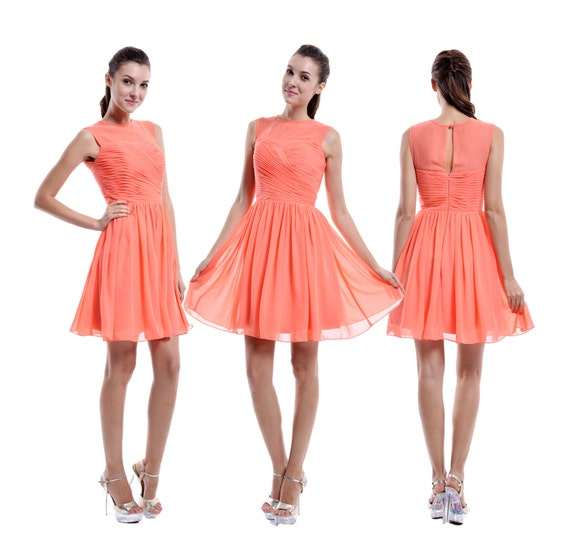 Coral bridesmaid dress with sheer top coral chiffon for Junior wedding guest dresses for summer
