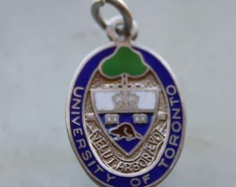 University of Toronto crest medal charm enamel on sterling silver  for a bracelet or a watch souvenir graduate gift.