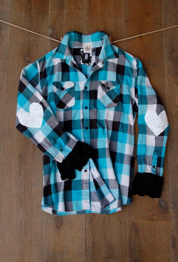 pailletten herzen ellenbogen patch flannel shirt langarm shirt. Black Bedroom Furniture Sets. Home Design Ideas