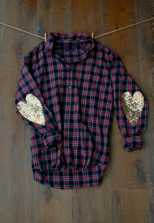 Sequin flannel shirt w sequin heart elbow patch boyfriend for Mens flannel shirt with elbow patches