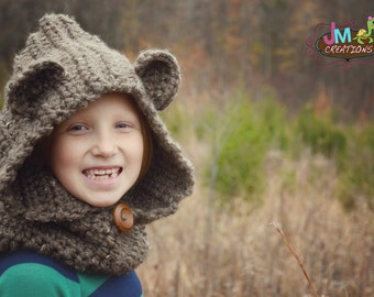 Bear Hooded Cowl - Scoodie - Crochet