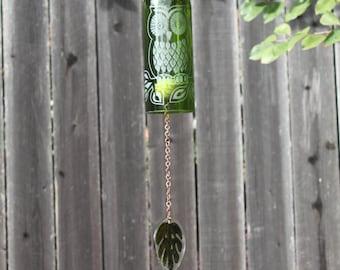 Sun Owl Wine Bottle Windchime - Chime Repurposed Windcatcher Bottle Etching Rememberance Wedding Shower Outdoor Decor