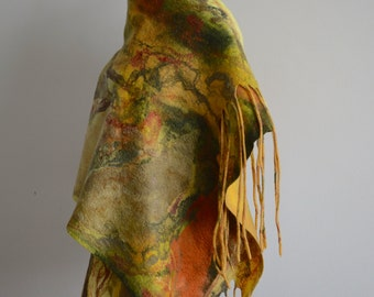 Boho chic fashion nuno-felted reversible wool stole (merino wool and silk) - wool felted big scarf -  OOAK - only to order!