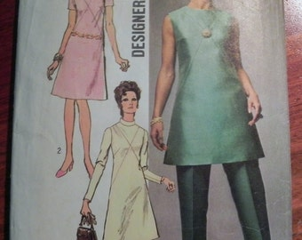 """1970s A line Dress, Tunic and Pants sewing pattern Simplicity 9062 Size 12 or 16 Bust 34 or 38"""""""