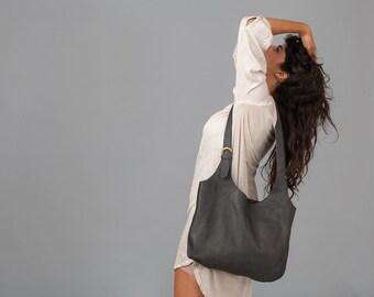Grey leather bag- Soft leather bag - Cross body leather bag - Liem bag