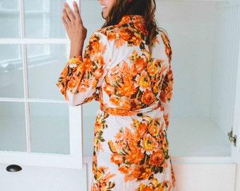 Floral kimono crossover robe, CUSTOM, Bridesmaids robe, spa robe, beach cover up, dressing up robe, maternity, bride, bridal party