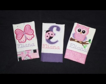 Set of 3 Girls Personalized Burp Cloth