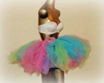 Adult tutu, neon 80s tutu, pink blue green, edc edm rave outfit, teen tutu, color run tutu, sewn tulle skirt, tutu for women,