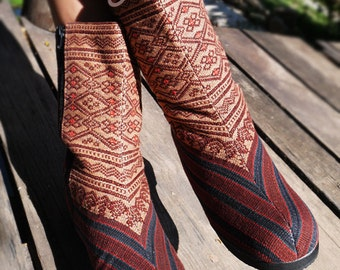 Women's Tribal Vegan Boots, Womens Boots, Tribal Boots, Vegan Boots, Hmong Boots, Hippie Boots, Boho Boots, Brown Boots, Ethnic Boots, Boots