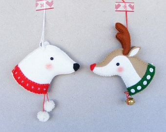 PDF pattern - Reindeer and Polar bear - Felt Christmas ornaments, hand sewing pattern, DIY project