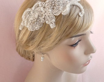 Ivory bridal headpiece, Alencon Lace rhinestone headpiece, bridal hair accessory, wedding head piece, ivory floral lace headpiece Style 283