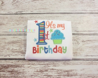 It's My First Birthday Appliqued Shirt - Embroidered, Personalized, Monogram, First Birthday, 1st Birthday, Boys Birthday Shirt