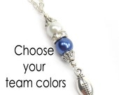 Football Team Necklace, Football Cheerleader Jewelry, Custom Team Colors
