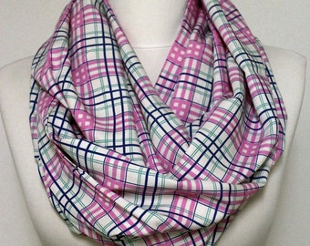 Pink Plaid Cotton Infinity scarf, Tube scarf, Circle scarf, Loop scarf, scarves, spring - fall - winter - summer fashion