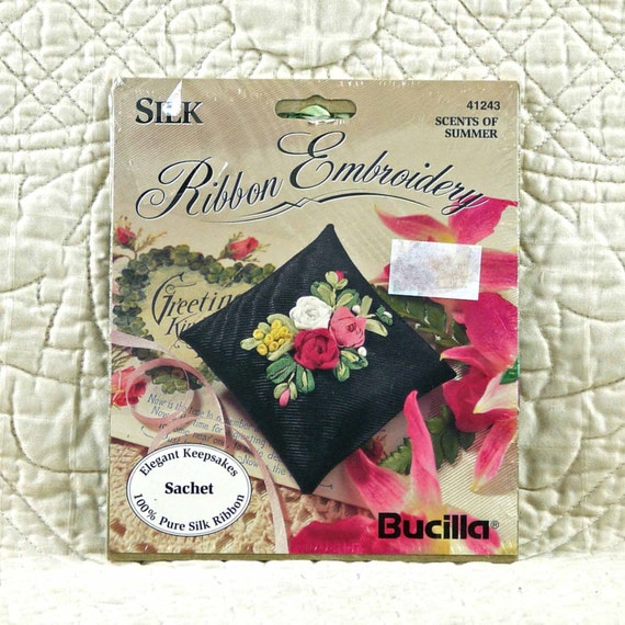 Sachet silk ribbon embroidery kit by dartingdogcrafts