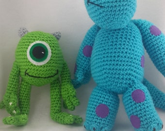 crocheted monsters inc Mike and Sully inspired  toys made to order