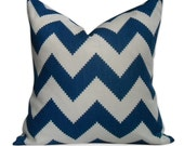 Jonathan Adler Limitless Pillow Cover in Marine Blue - SAME Fabric BOTH Sides - Invisible Zipper - 18x18, 20x20, 22x22 and lumbar sizes