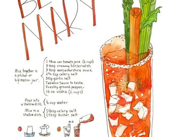 Bloody Mary Illustrated Recipe Art Print