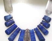 Necklace and Earring Set, Lapis Lazuli, Tab Cut,  heritage silver plate in the Royal York a.k.a. Oakleigh, 1937 pattern;  Tudor Community