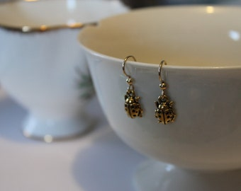 Antique plated Gold Ladybug Earrings
