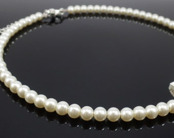Faux White Pearl Necklace -  White Necklace - White Beaded Necklace - Statement Necklace - White Chocker Necklace - Wedding Necklace