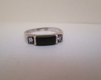 Vintage Onyx and Diamond Sterling Silver Ring