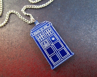 Police Box Necklace Laser Cut Mirroed Blue Acrylic Time Machine Chain or Ribbon Necklace