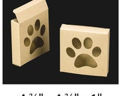 "12 - Paw Print Window Boxes - 4"" Square Natural Kraft - Dog Treats, Cookies, Candy, Favor Box - Food Safe - Eco-Friendly Recyclable"