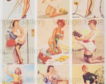 ELVGREN PINUPS-DOWNLOAD Digital Collage Sheet 9 Printable Images - Scrapbooking - Gift Tags - Magnets - Cards