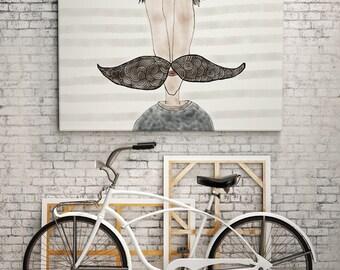 PRINT | MOUSTACHE LOVE / Striped: Illustration Print.