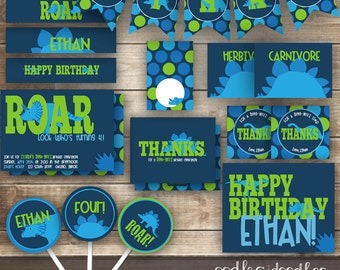 Dinosaur Birthday Party, Dinosaur Party Package, Dinosaur Party Printables, Dinosaur Decorations, Dino Party, Navy, Turquoise, Lime Green