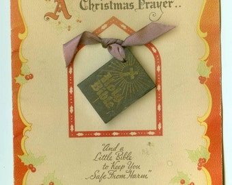 Vintage Patented Miniture Bible Greeting Card from Sorin Bible & Card Co. Christmas Prayer 1940s