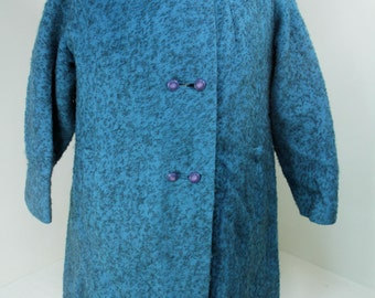 Mid-Century Modern Turquoise & Black Wool Nubby Women's Coat Mod Double-Breasted Jackie O Fashion
