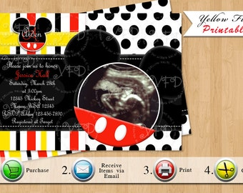 Mickey mouse baby shower invitations home design ideas mickey mouse baby shower invitation mickey mouse baby shower red yellow black printables filmwisefo