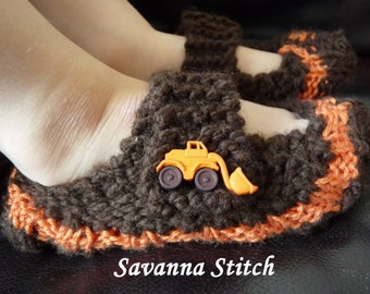 The Slumber - Children's Mary Janes Slippers (Tractor)