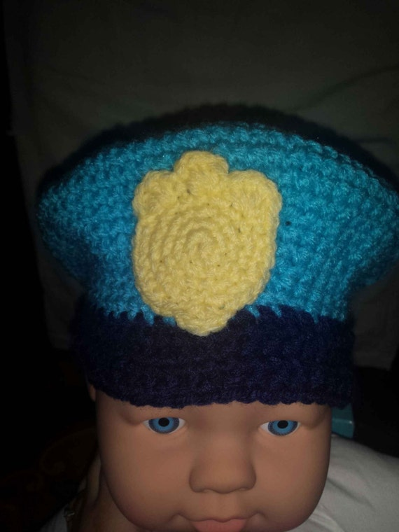 Crochet Police officer hat kids gift Blue and yellow