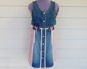 Blue Denim Dress, Size Large, Reconstructed Clothing