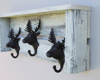 Shelf with Moose Hooks (Shabby Chic Style) Made From Reclaimed Wood