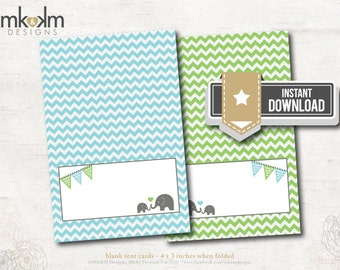 Oh Baby Elephant Baby Shower : Tent Cards - Place Cards - Food Card - Boy Shower- Birthday- Chevron- INSTANT DOWNLOAD - #1202 Blue and Green