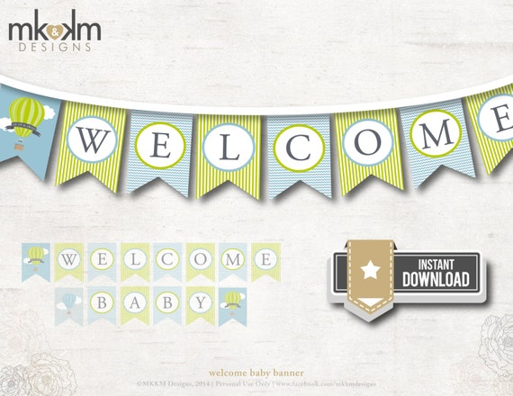 Welcome Baby Banner, Up and Away Baby Shower, Hot Air Balloon ...