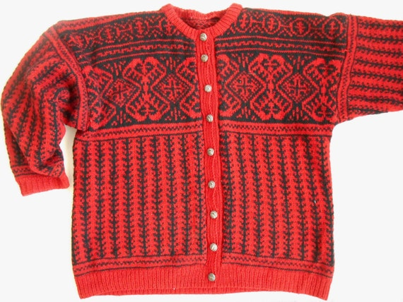 Vintage Norwegian cardigan Scandinavian Sweater Nordic pattern