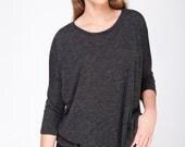 Dark Gray T shirt for women, oversized shirt with long sleeves