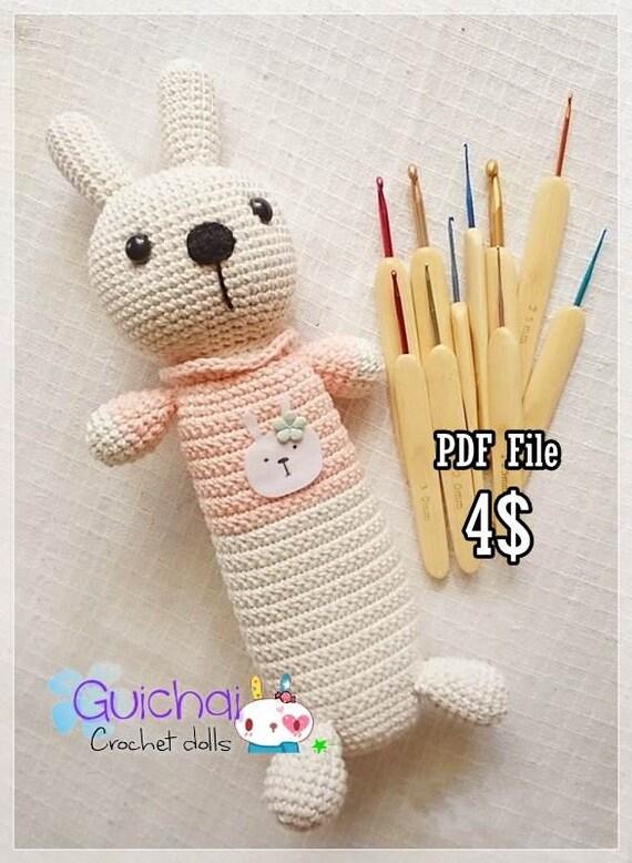 Amigurumi Bunny Pencil Holder : Crochet doll pattern rabbit tools bag guichai dolls